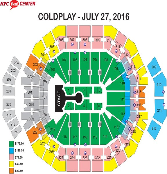 Coldplay Seating Chart