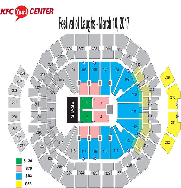 seating charts kfc yum center. Black Bedroom Furniture Sets. Home Design Ideas