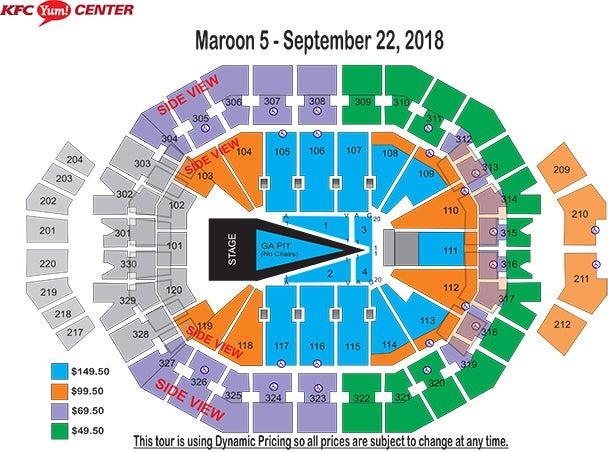 Maroon 5 red pill blues tour kfc yum center