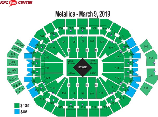 Seating charts kfc yum center