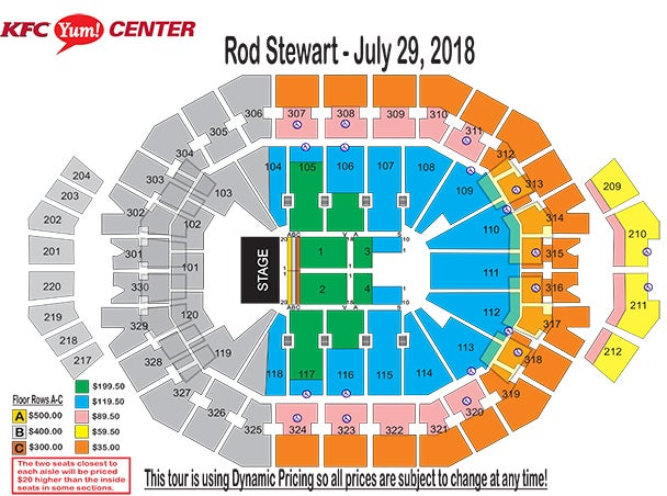 Rod stewart with special guest cyndi lauper kfc yum center